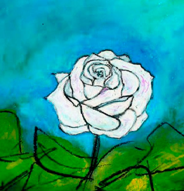 Cuadro Rosa Blanca